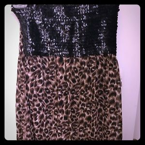 Strapless sequin and cheetah print dress